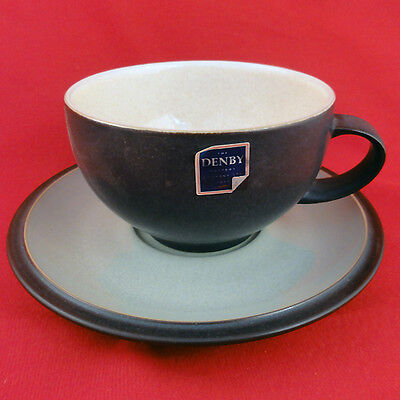 ENERGY by Denby Breakfast Cup & Saucer Set NEW NEVER USED made in England