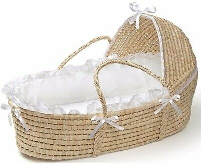 Natural Hooded Moses Basket In White with Removable Liner Outdoor Picnic