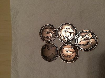 5 collectable one penny coins (very rare)
