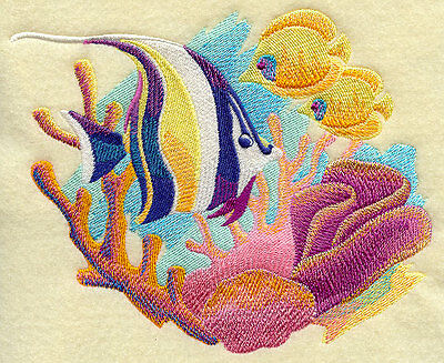 Embroidered Fish quilt block, fabric,cushion panel,fantasy,fish,coral,tropical