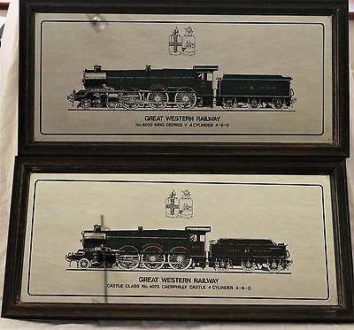 4 Decorative Mirrored Prints Of Steam Engines