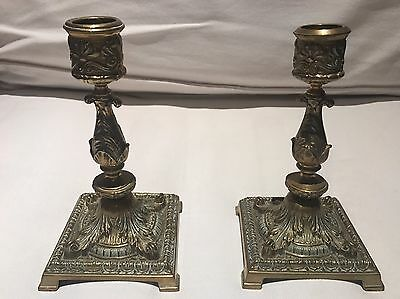 Set Of Two Antique Solid Brass Candle Holders