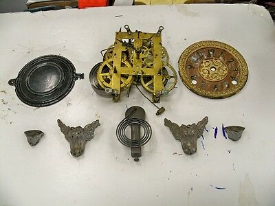E N Welch Antique Clock Movt W Dial Hands Etc