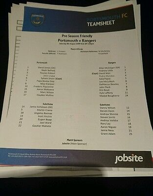 2009 friendly teamsheet Portsmouth v Rangers