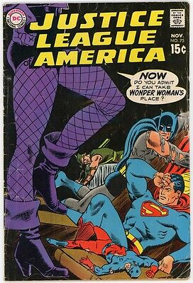 Justice League of America 75 - 1969 - Earth 2 Black Canary Joins  - 5.0 VG/FN