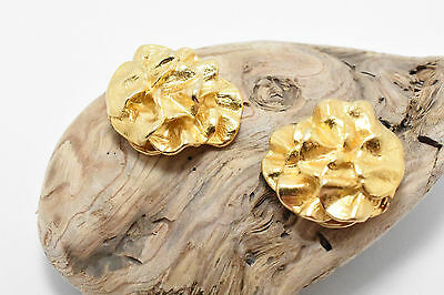 Vintage Pair of Gold Plated Musi Designer Nugget Dress Scarf Shoe Clips