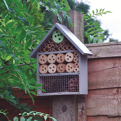 Wooden Insect Hotel Bee Keeping House Ladybird Nest Garden Pollination Box H25cm