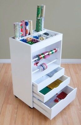 Studio Designs White Crafts And Hobby Wring Paper Cart Organizer New