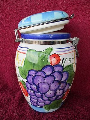 """Cookie Jar,  Capriware 10"""" Tall W/ Fruit & A Rubber Seal"""