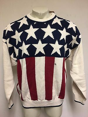 Mens Vintage New Nwt Structure Usa Flag Stars Stripes America Knit Sweater Sz Xl