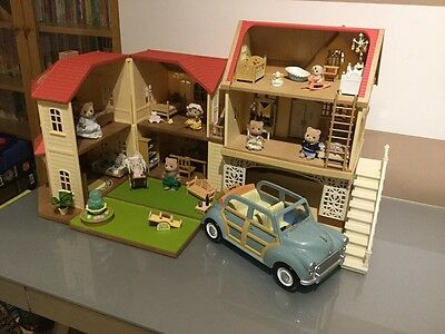 Sylvanian Families Maplemanor & Rose Cottage With Family Car Fully Furnished