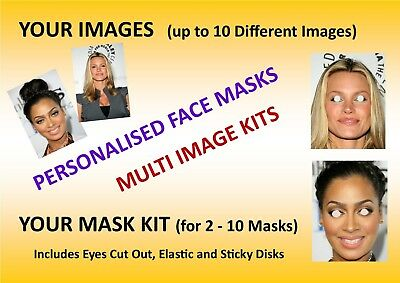 2 to 10 Personalised Photo Face Mask KIT - Up to 10 Different Enhanced Images
