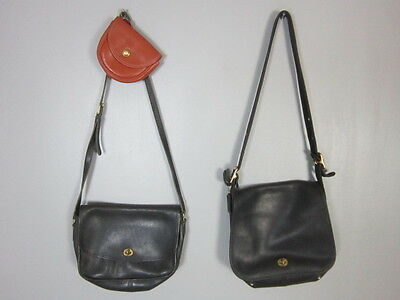 Lot Of 3 Vintage Coach Leather Black Brown Shoulder Belt Bags Purses