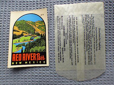 Vintage RED RIVER PASS NEW MEXICO  original souvenir travel water slide decal