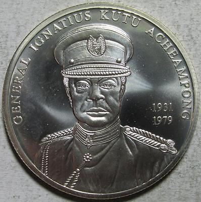 Ghana, 100 Sika, 2002, BU, General Acheampong, .9963 Ounce Silver UNCIRCULATED