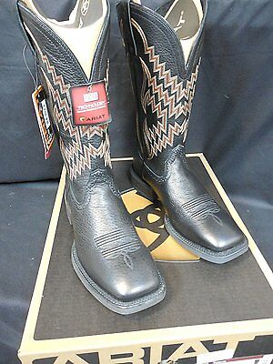 Ariat Tycoon Men's Western Boots, Black Deertan Wide Square Toe!  New!