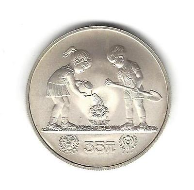 """1979 China 35 Yuan Silver Satin Matte Finish Coin """"Year of the Child"""""""