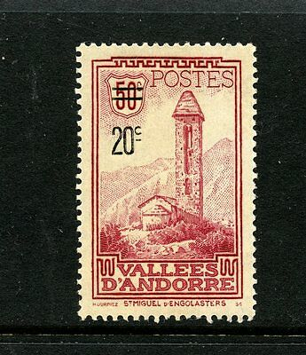 Andorra, French #64 (AN469) Comp 1935 Surcharged St Miquel d'Engolasters, M,H,FV