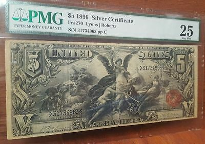 Fr 270 1896 $5 Silver Certificate PMG 25 (no comments) Educational note