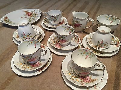 BEAUTIFUL 21 Piece VINTAGE ART DECO BELL CHINA HAND PAINTED FLORAL TEA SET Downt