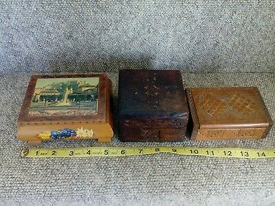 3 Small Vintage Wooden Boxes.