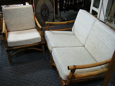 Mid Century Modern Calif-Asia Bamboo Loveseat & Chair with Cushions