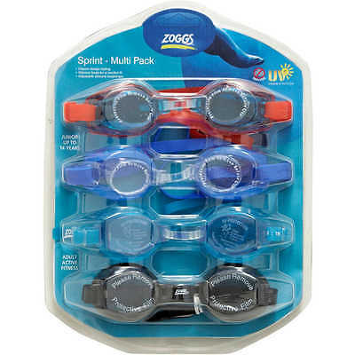 4 Pack Zoggs Swimming Goggles Sprint Adult Childrens Swim Goggle UV Brand New