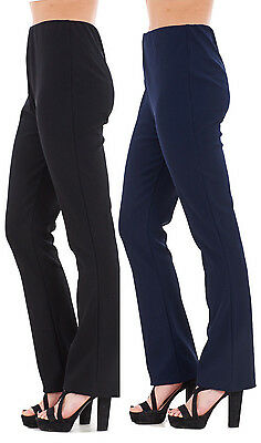 Womens Ladies Pack Of 2 Bootleg Trousers Stretch Soft Ribbed Pull On Size 8 - 26