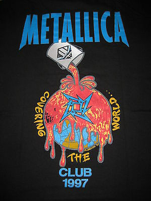 "Metallica Metclub Fan Club Official T-Shirt Black XL 1997 ""Covering the World"""