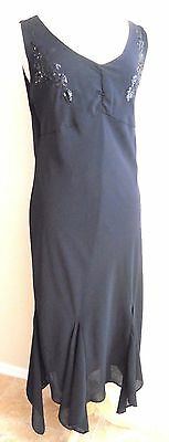 Black Long Gown Woman Size 16 Crepe V Neck Handkerchief Hem by Montee