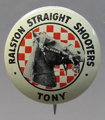 1946 TONY Tom Mix Straight Shooters pinback button Ralston Cereal Radio Premium