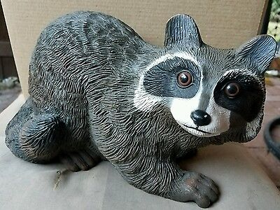 "Vintage Yard Art 1991 Art Line Racoon Figurine Resin Model 3623 9"" Tall"