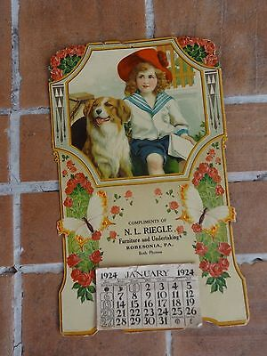 Vintage advertising calendar 1920's Robesonia PA Germany dog butterfly die cut