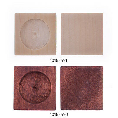 34*34mm Wood Square Pendant tray fit 25mm Round Cabochon Setting Blank 20PCS