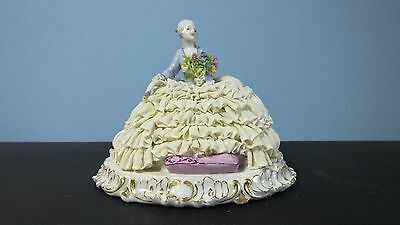 Antique Dresden Porcelain Figurine of Woman in Lace Dress, Ca. Late 19th c.