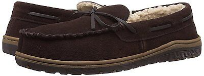 Rockport Men's Brown Leather Suede Fur-Lined Moc Toe In/Outdoor Slippers, 9M