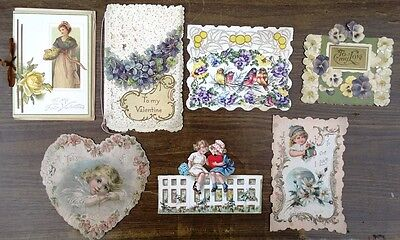 Victorian Valentine Lot of 7 Cards
