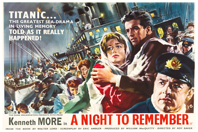 A Night to Remember, 1958 repro Movie Poster - Titanic - 12 x 18