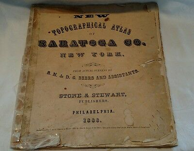 Antique (1866) TOPOGRAPHICAL ATLAS of SARATOGA CO. NEW YORK