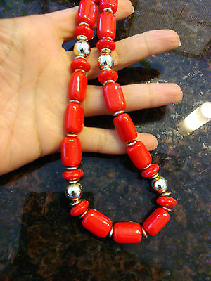vintage red plastic beads necklace