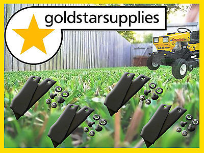 4 x pairs of GREENFIELD ride on mower blades and bolt sets - Hardened steel