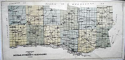 map of Dundas Stormont Glengarry Counties Ontario Canada 1881 rare orig Ag Comm