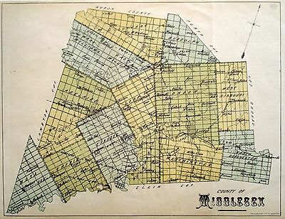 Middlesex County Ontario Canada Rare 1881 orig map Ont Agricultural Commission