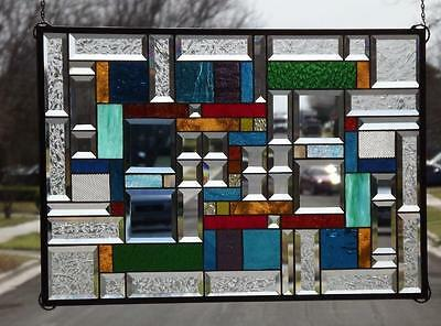 "• HUGE- CONTRASTING DESIGN •29 3/4"" 19 3/4""x (75x50cm.) Stained Glass"