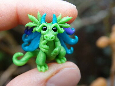 OOAK MINI Baby Dragon Fantasy Dollhouse Fairy Art Doll Polymer Clay By Tina Neal