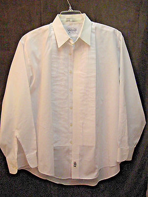 Joseph & Feiss Tuxedo Shirt White Laydown Collar Pleated Front Formal Wear Sz XL