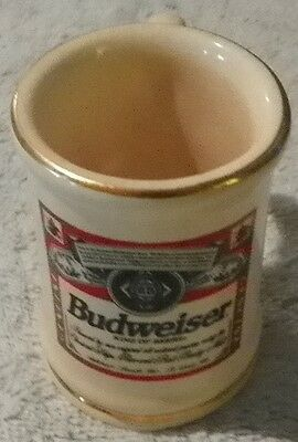 "Budweiser Collectible Mini Stein Mug Cup 2-3/4"" tall with Gold Trim"