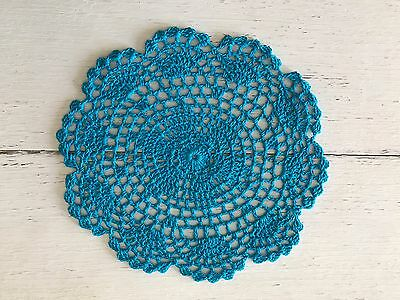 20 Cm New Peacock Blue  Crochet Lace Doily