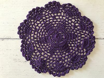 20 Cm New Dark Purple Crochet Lace Doily