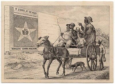 """DOMESTIC"" SEWING MACHINE Trade Card, Horse Pulling a Wagon of Black Folks"